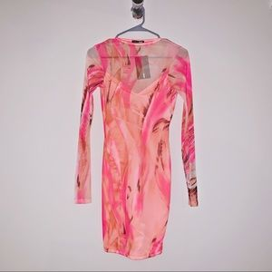 Pink Abstract Print Mesh Dress